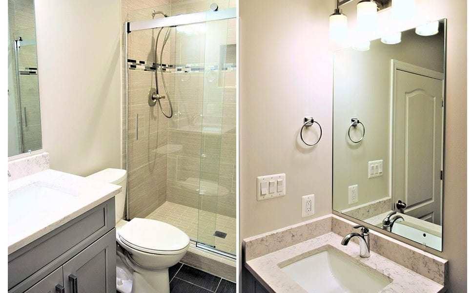 Remodeled Bathroom in Unfinished Basement in Silver Spring